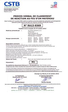 Протокол испытаний и свидетельство о классификации на пожарную безопасность (CSTB, Франция)
